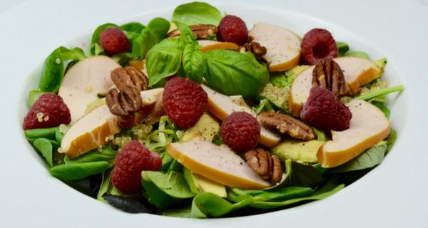 Gerookte Kip Salade met Frambozen en Pecannoten
